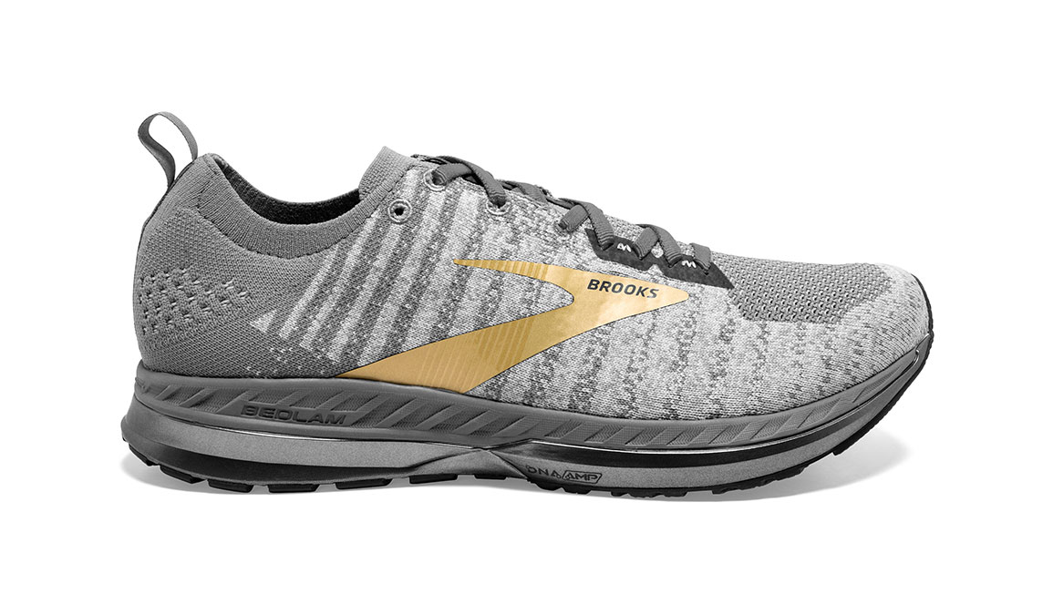 Men's Brooks Bedlam 2 Running Shoe - Color: Grey/White/Gold (Regular Width) - Size: 11.5, Grey/Gold, large, image 1