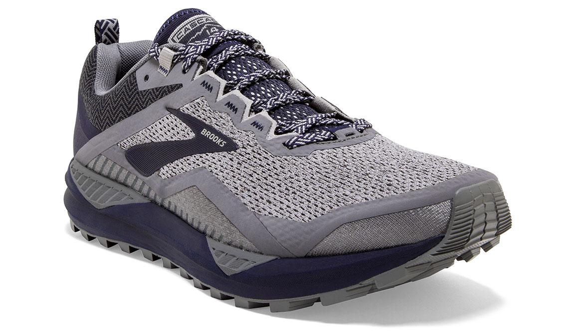 Men's Brooks Cascadia 14 Trail Running Shoe - Color: Grey/Navy (Regular Width) - Size: 9, Grey/Navy, large, image 2
