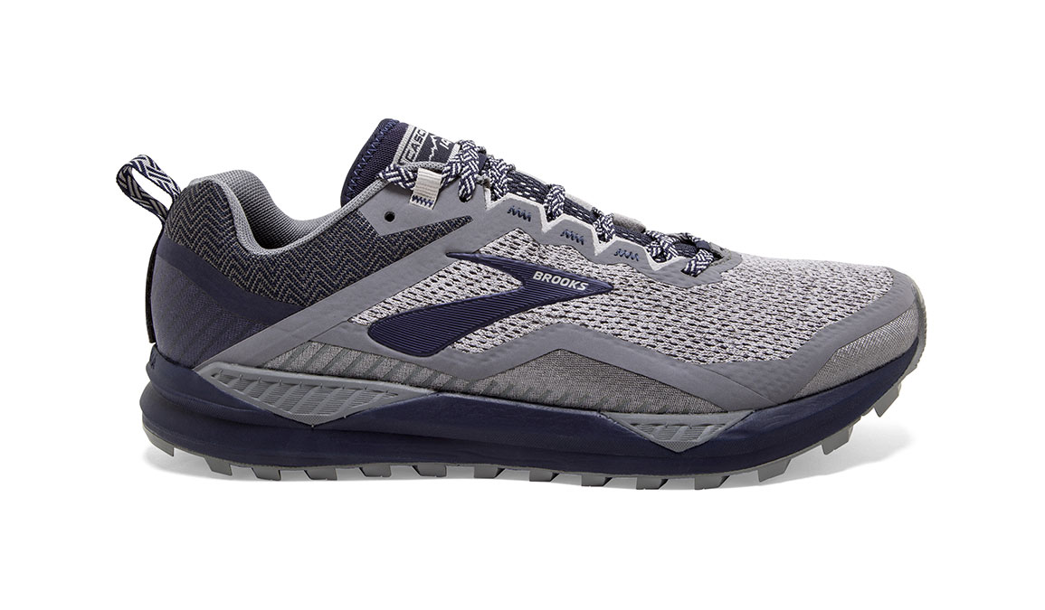 Men's Brooks Cascadia 14 Trail Running Shoe - Color: Grey/Navy (Regular Width) - Size: 9, Grey/Navy, large, image 1