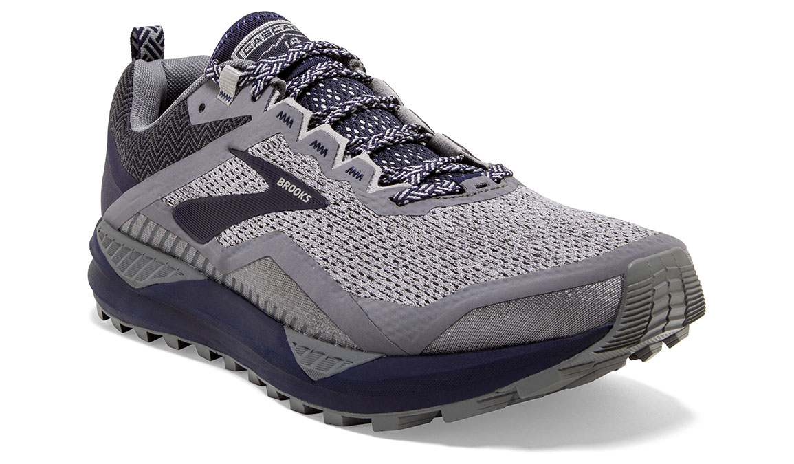 Men's Brooks Cascadia 14 Trail Running Shoe - Color: Grey/Navy (Regular Width) - Size: 9, Grey/Navy, large, image 2