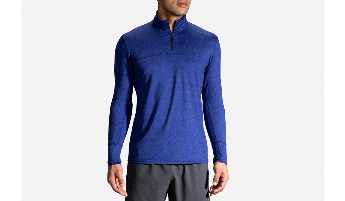 Men's Brooks Dash 1/2 Zip - Color: Heather Cobalt/Navy Size: S, Heather Navy, large, image 1