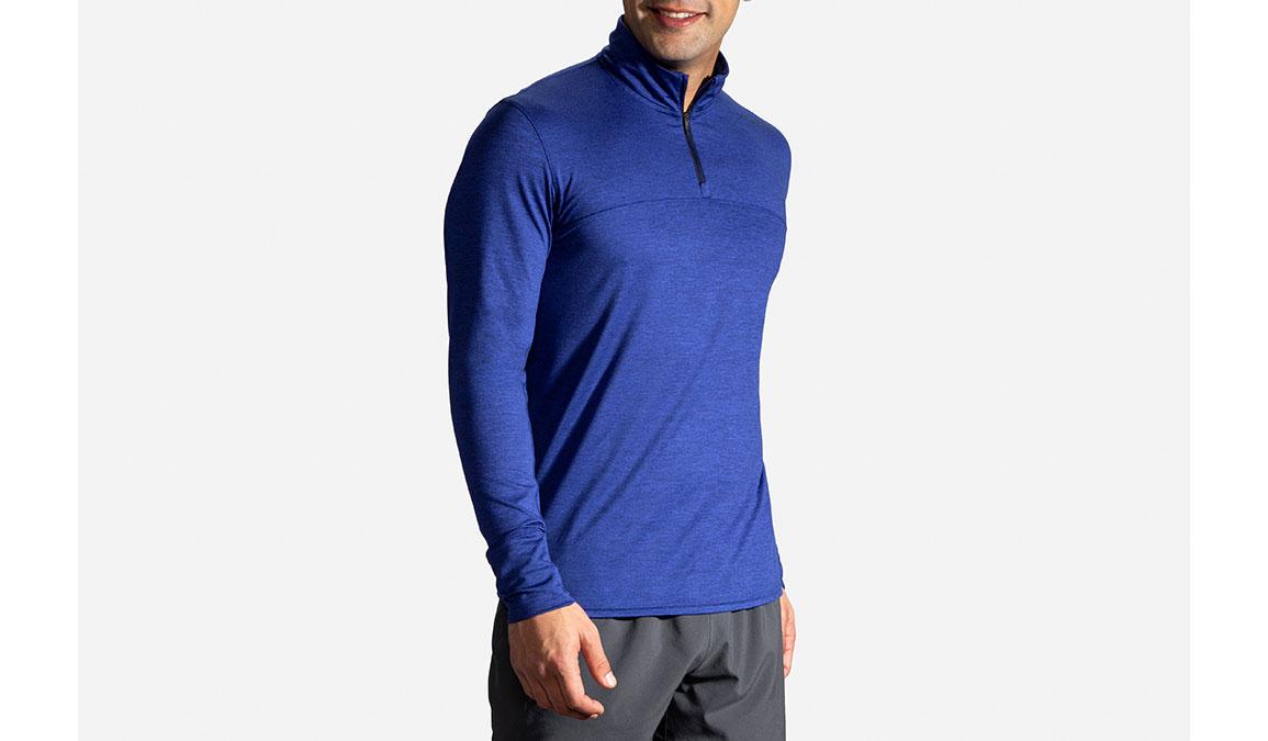 Men's Brooks Dash 1/2 Zip - Color: Heather Cobalt/Navy Size: S, Heather Navy, large, image 2