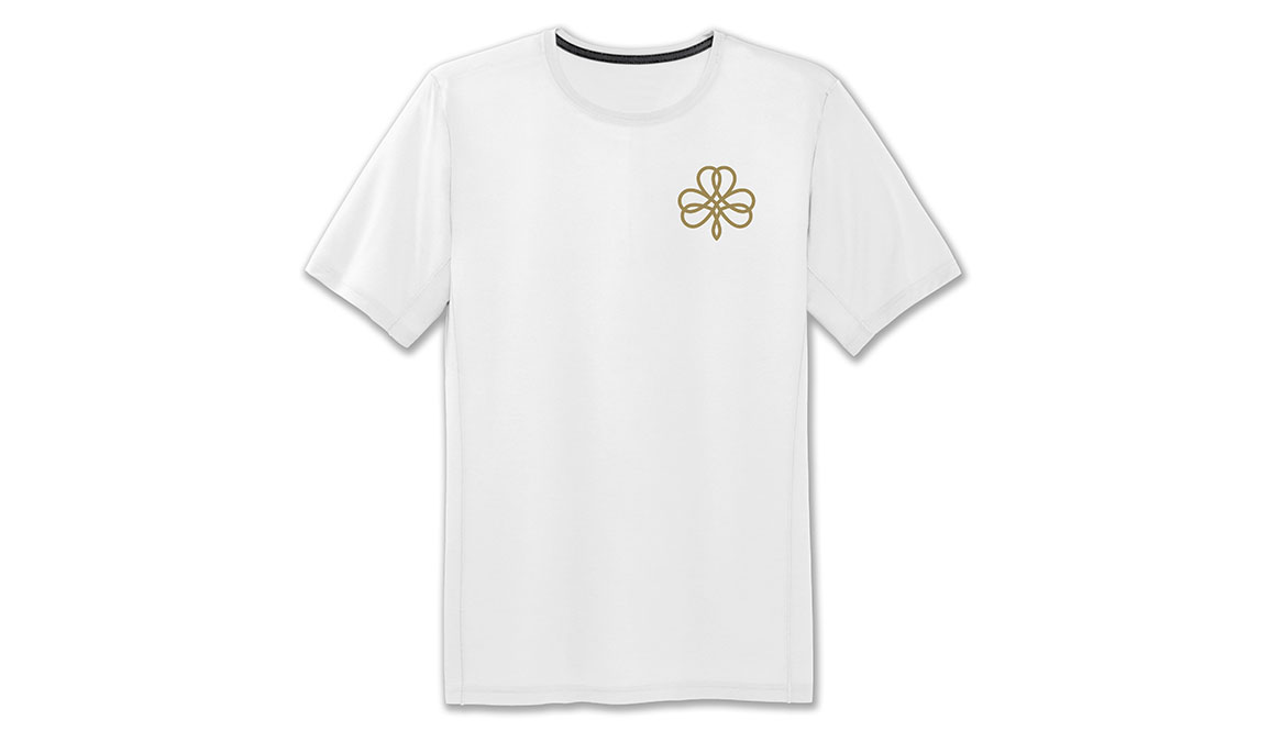 Men's Brooks Distance Graphic T-Shirt - Color: White/St. Patrick's Day Size: S, White/Clover, large, image 1