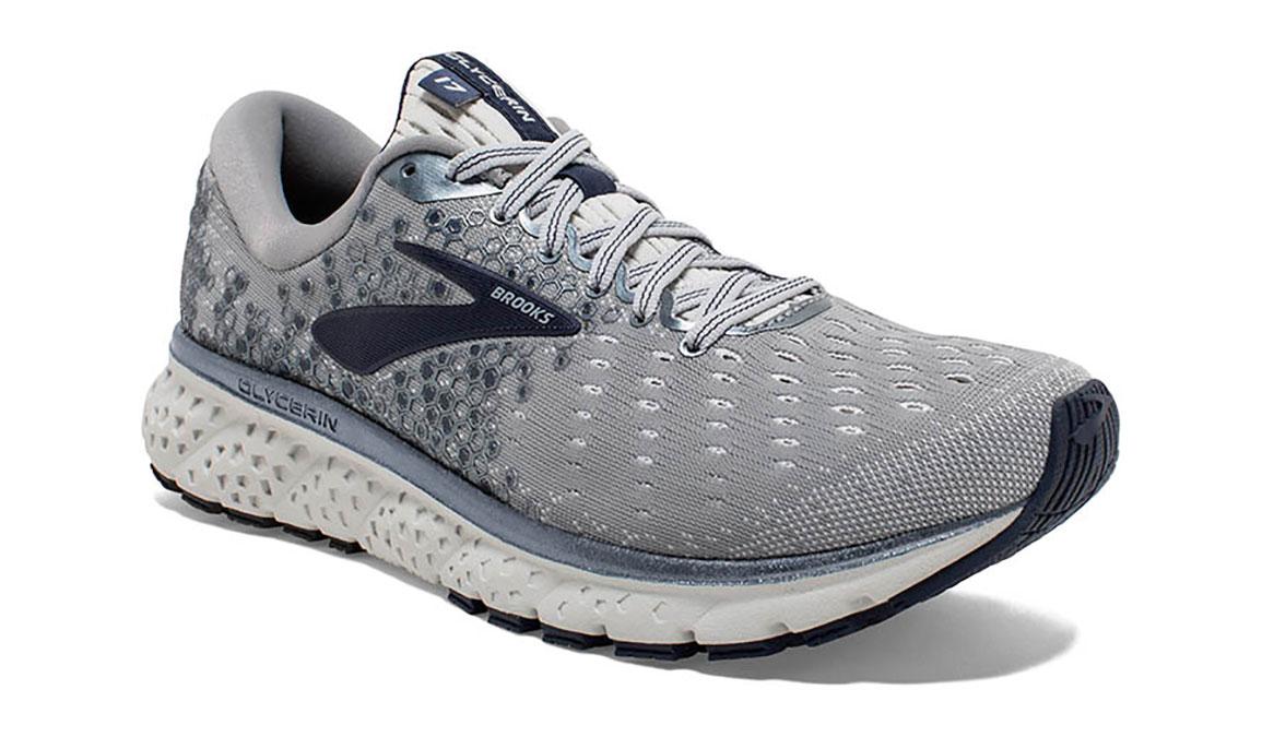 Men's Brooks Glycerin 17 Running Shoe - Color: Grey/Navy/White (Regular Width) - Size: 8.5, Grey/White, large, image 2