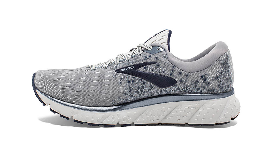 Men's Brooks Glycerin 17 Running Shoe - Color: Grey/Navy/White (Regular Width) - Size: 8.5, Grey/White, large, image 4