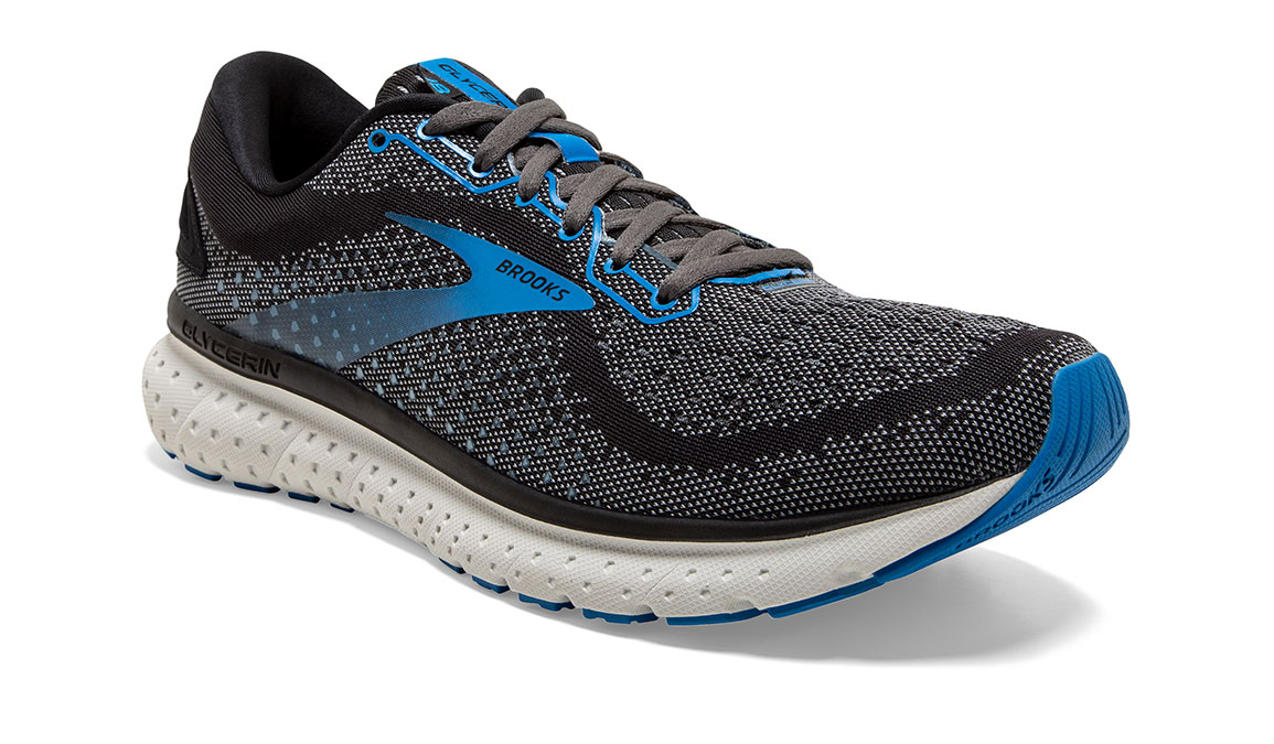 Men's Brooks Glycerin 18 Running Shoe - Color: Black/Blue (Regular Width) - Size: 8.5, Black/Blue, large, image 2