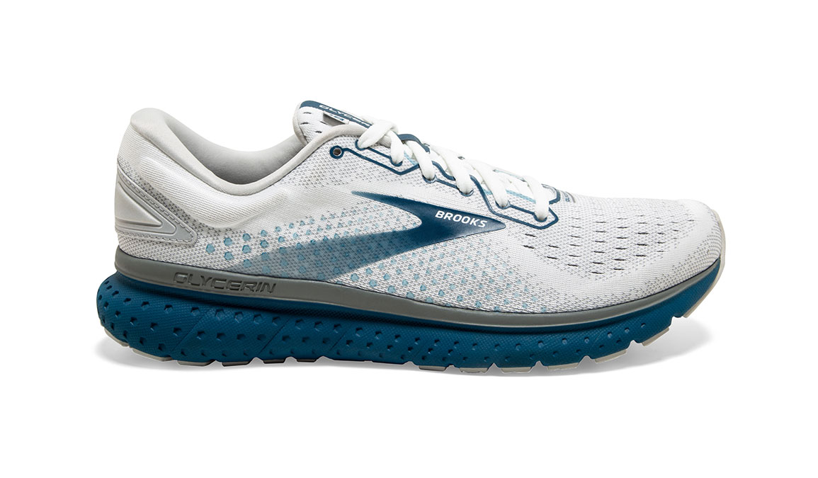 Men's Brooks Glycerin 18 Running Shoe - Color: White/Grey/Poseidon (Regular Width) - Size: 10, White/Blue, large, image 1