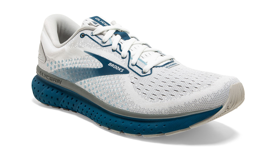Men's Brooks Glycerin 18 Running Shoe - Color: White/Grey/Poseidon (Regular Width) - Size: 10, White/Blue, large, image 2