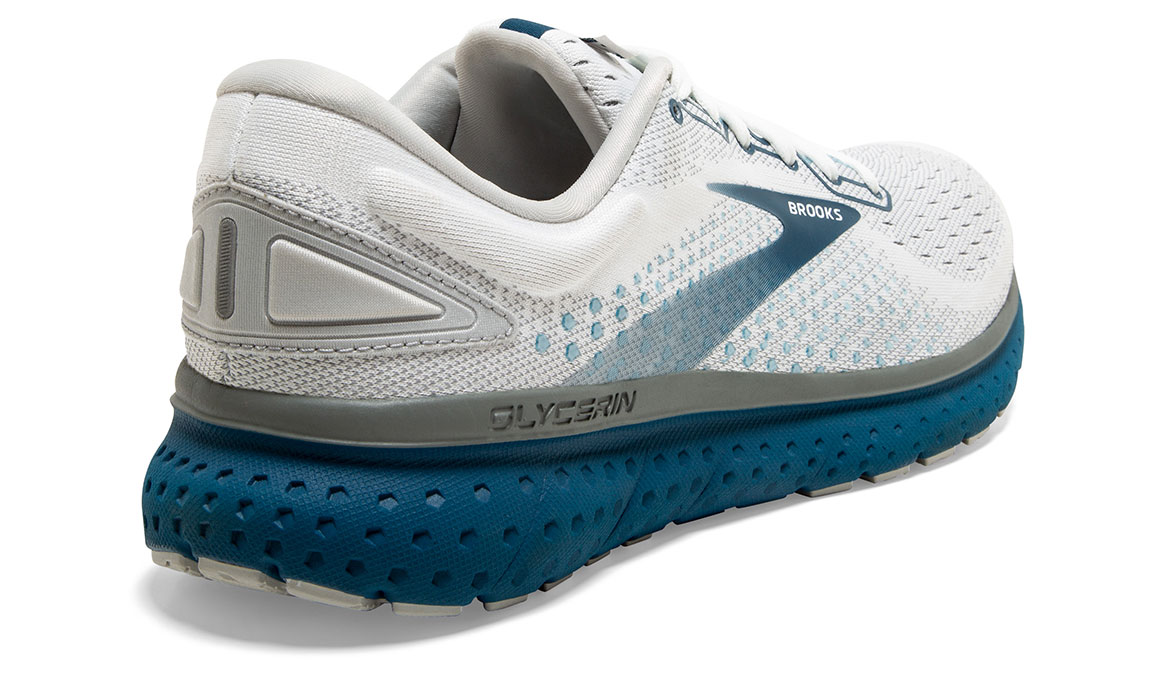 Men's Brooks Glycerin 18 Running Shoe - Color: White/Grey/Poseidon (Regular Width) - Size: 10, White/Blue, large, image 3