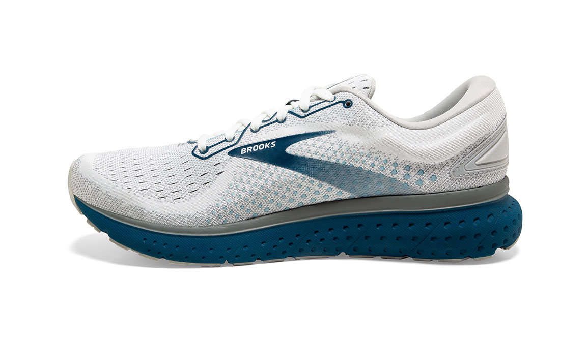 Men's Brooks Glycerin 18 Running Shoe - Color: White/Grey/Poseidon (Regular Width) - Size: 10, White/Blue, large, image 4
