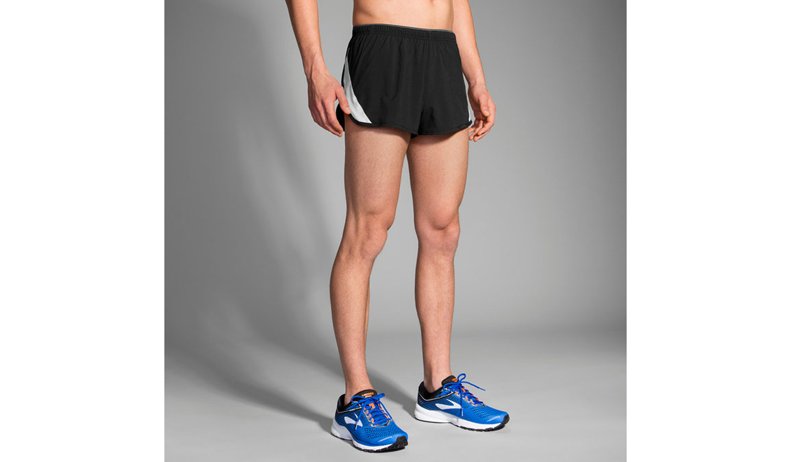 Men's Brooks Go-To 2'' Split Short - Color: Black/Sterling Size: XL, Black, large, image 1