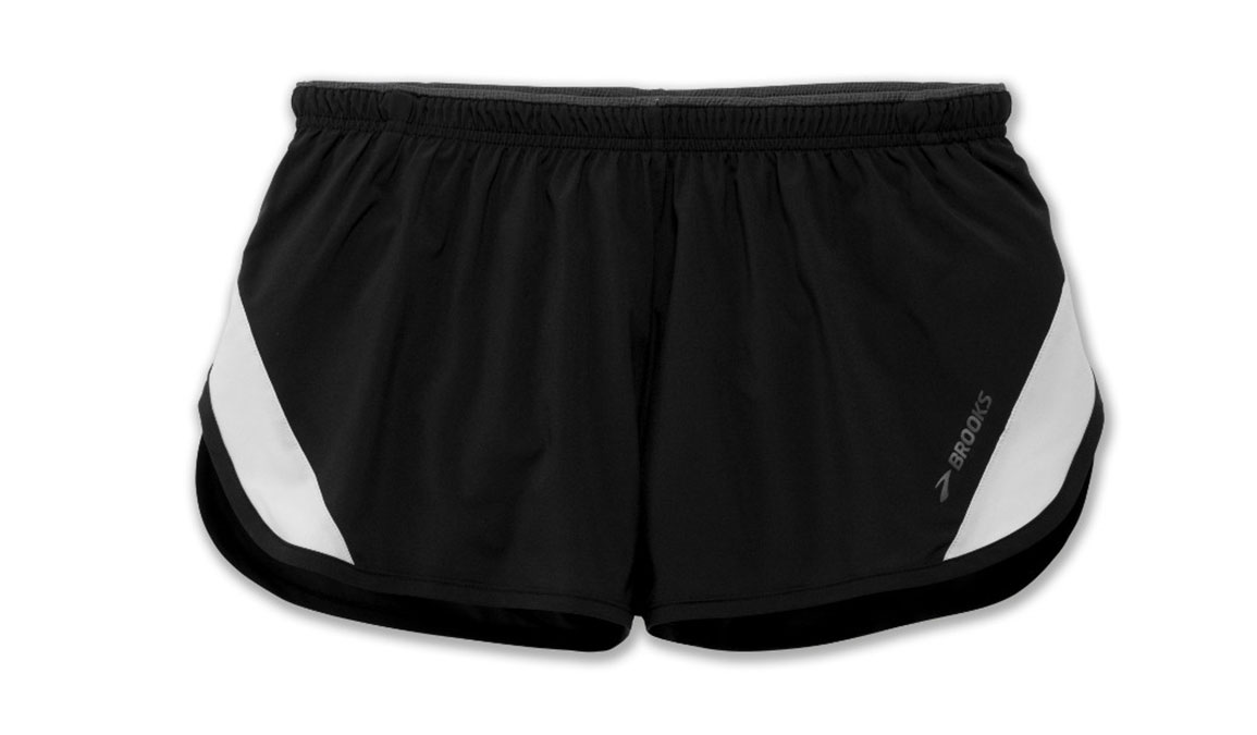 Men's Brooks Go-To 2'' Split Short - Color: Black/Sterling Size: XL, Black, large, image 2