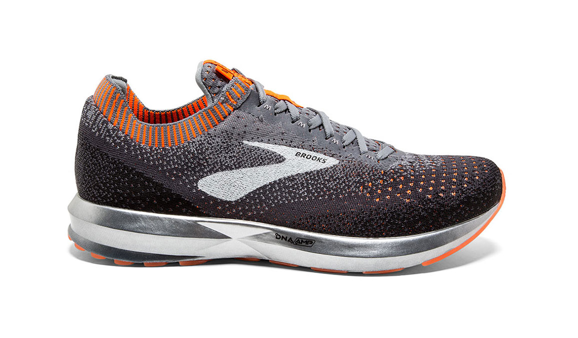 Men's Brooks Levitate 2 Running Shoe - Color: Grey/Black/Orange (Regular Width) - Size: 8, Grey/Black, large, image 1