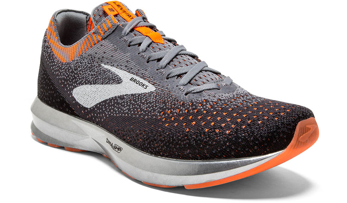 Men's Brooks Levitate 2 Running Shoe - Color: Grey/Black/Orange (Regular Width) - Size: 8, Grey/Black, large, image 2