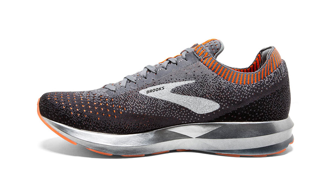 Men's Brooks Levitate 2 Running Shoe - Color: Grey/Black/Orange (Regular Width) - Size: 8, Grey/Black, large, image 4
