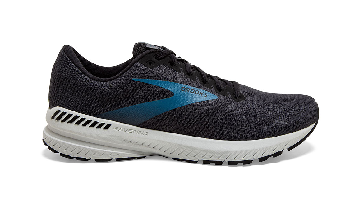 Men's Brooks Ravenna 11 Running Shoe - Color: Ebony/Stellar (Wide Width) - Size: 7, Black/Blue, large, image 1