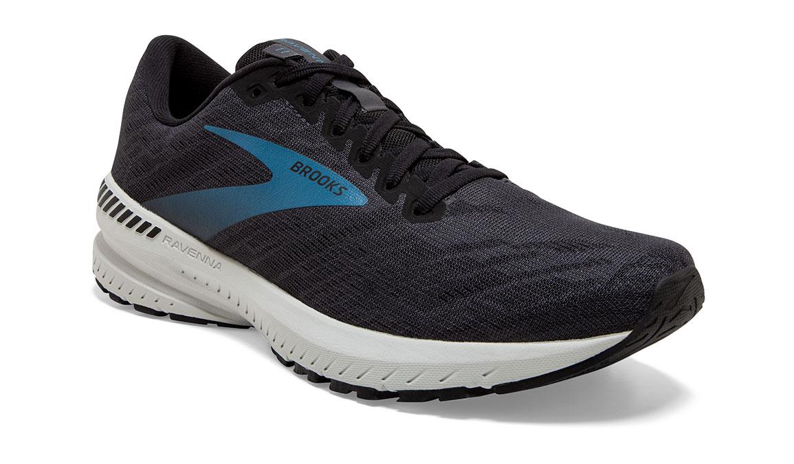 Men's Brooks Ravenna 11 Running Shoe - Color: Ebony/Stellar (Wide Width) - Size: 7, Black/Blue, large, image 3