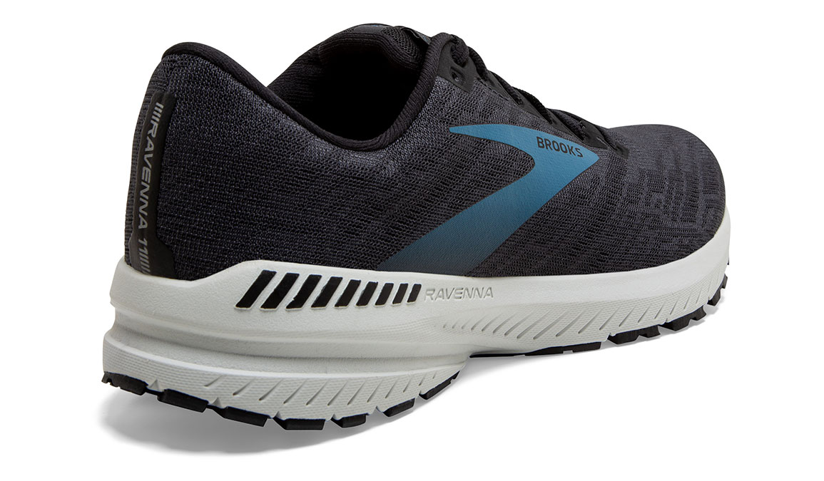 Men's Brooks Ravenna 11 Running Shoe - Color: Ebony/Stellar (Wide Width) - Size: 7, Black/Blue, large, image 4