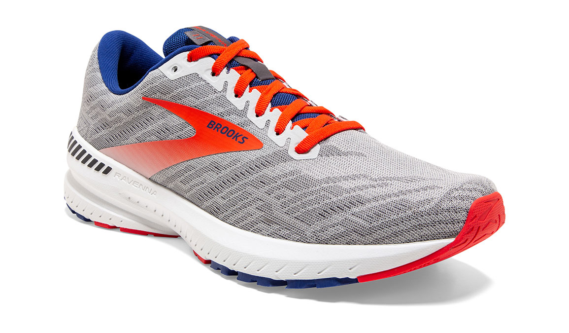 Men's Brooks Ravenna 11 Running Shoe - Color: Grey/Cherry (Regular Width) - Size: 9, Grey/Red, large, image 3