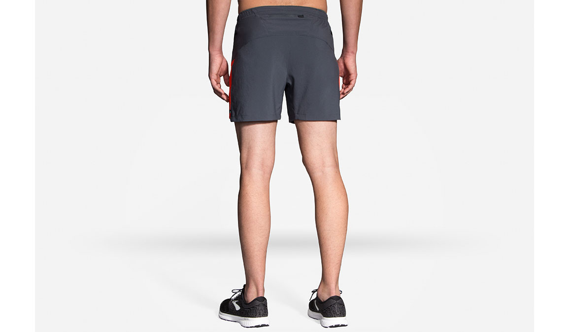 "Men's Brooks Sherpa 5"" Shorts - Color: Asphalt/Lava Size: S, Grey/Red, large, image 2"