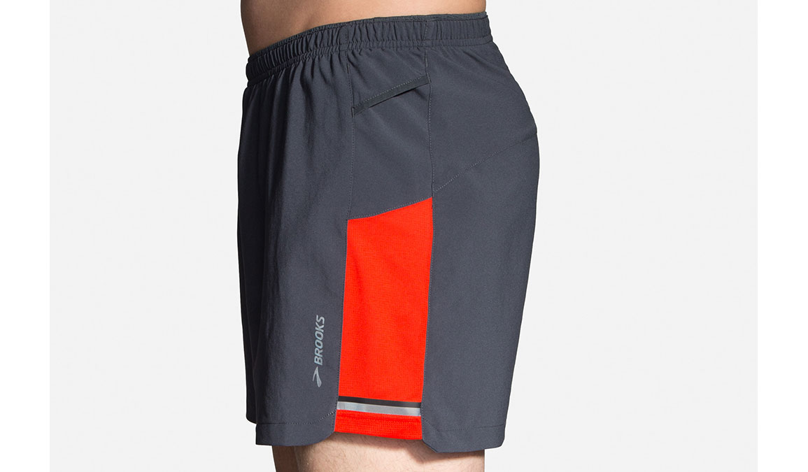"Men's Brooks Sherpa 5"" Shorts - Color: Asphalt/Lava Size: S, Grey/Red, large, image 3"