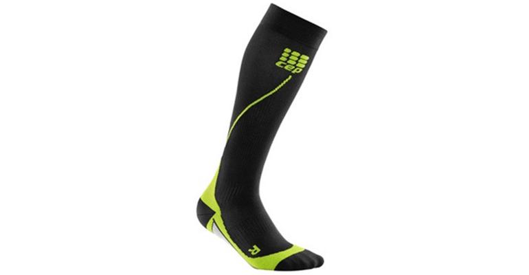 Men's CEP Compression Progressive+ Compression Run Socks 2.0 - Color: Black/Green - Size: III, Black/Green, large, image 1