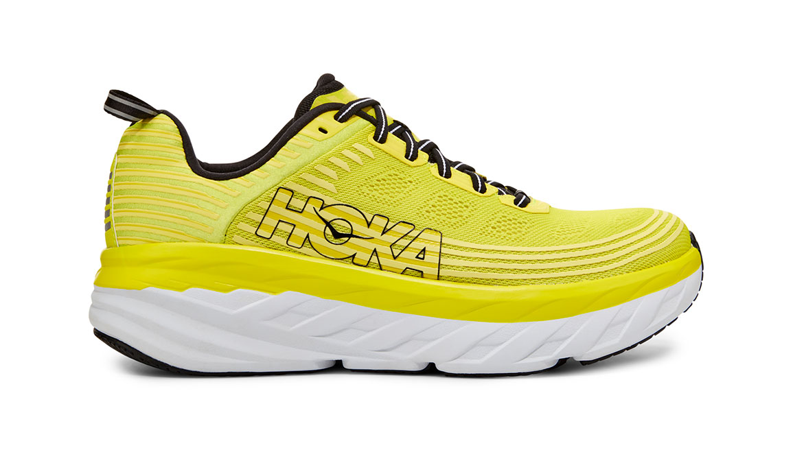 Men's Hoka One One Bondi 6 Running Shoe - Color: Citrus/Anthracite (Regular Width) - Size: 7, Citrus/Anthracite, large, image 1