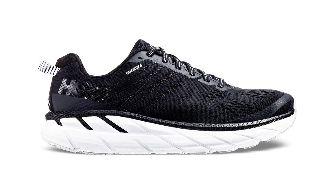 Men's Hoka One One Clifton 6 Running Shoe - Color: Black/White (Regular Width) - Size: 9, Black/White, large, image 1