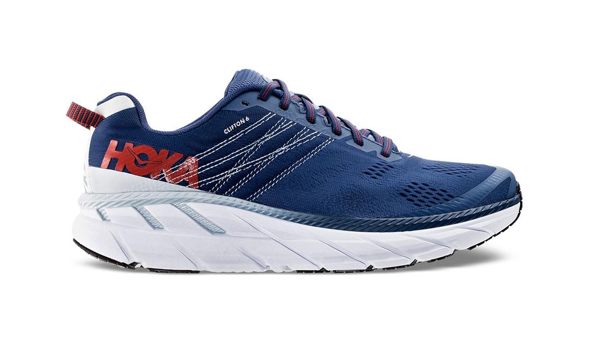 Men's Hoka One One Clifton 6 Running Shoe - Color: Ensign Blue/Plein Air (Regular Width) - Size: 8.5, Ensign Blue/Plein Air, large, image 1