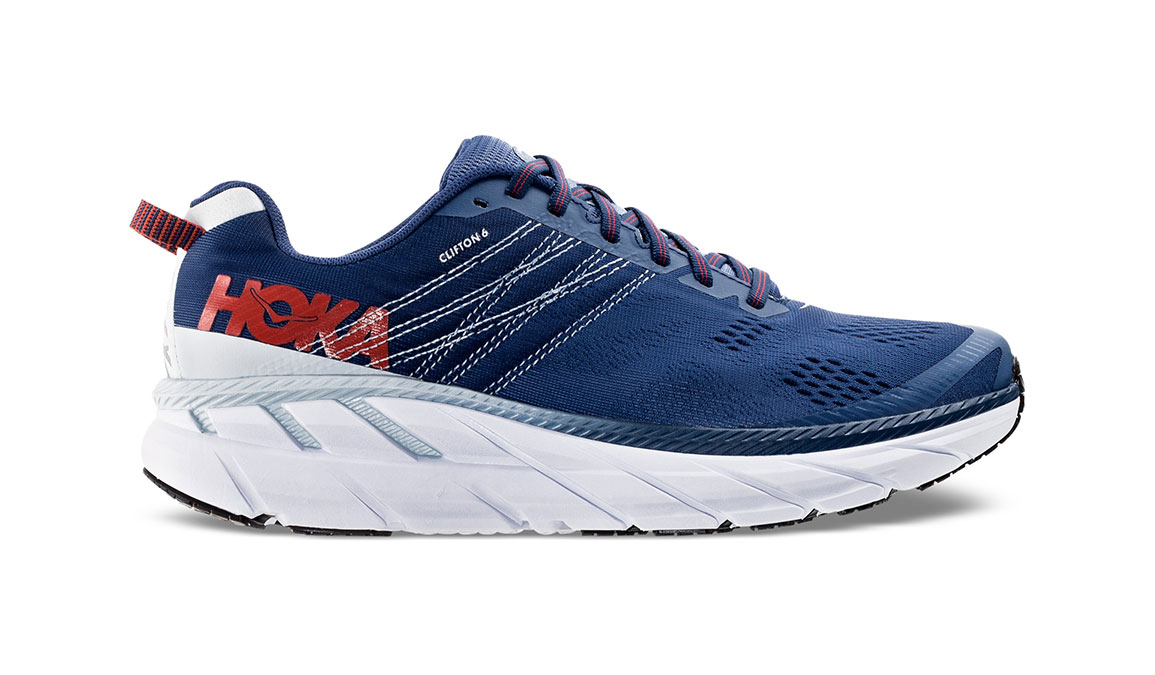 Men's Hoka One One Clifton 6 Running Shoe - Color: Ensign Blue/Plein Air (Regular Width) - Size: 8.5, Ensign Blue/Plein Air, large, image 1
