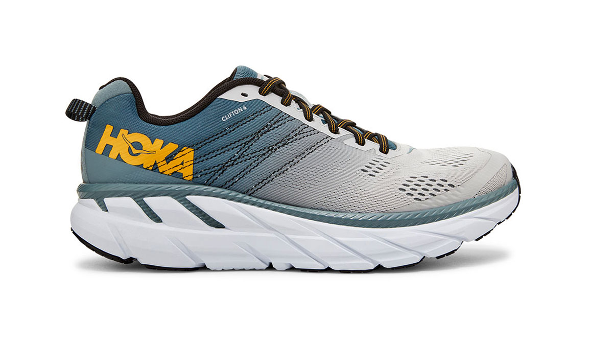 Men's Hoka One One Clifton 6 Running Shoe - Color: Lead/Lunar Rock (Wide Width) - Size: 7, Lead/Lunar Rock, large, image 1