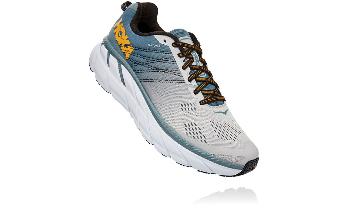 Men's Hoka One One Clifton 6 Running Shoe - Color: Lead/Lunar Rock (Wide Width) - Size: 7, Lead/Lunar Rock, large, image 2