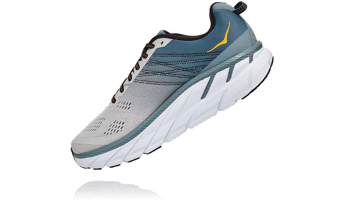 Men's Hoka One One Clifton 6 Running Shoe - Color: Lead/Lunar Rock (Wide Width) - Size: 7, Lead/Lunar Rock, large, image 4