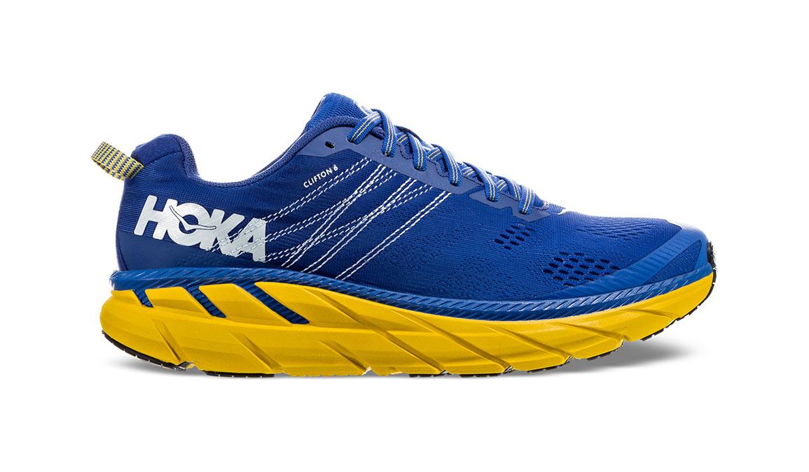 Men's Hoka One One Clifton 6 Running Shoe - Color: Nebulas Blue/Lemon (Wide Width) - Size: 13, Nebulas Blue/Lemon, large, image 1