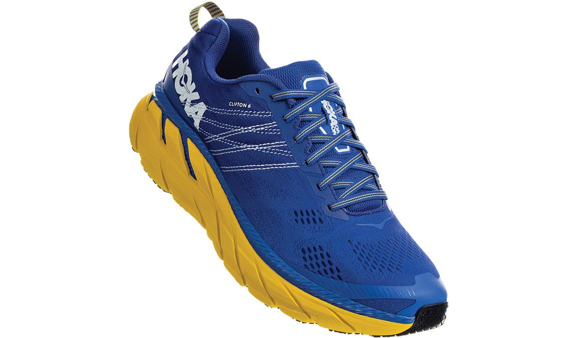 Men's Hoka One One Clifton 6 Running Shoe - Color: Nebulas Blue/Lemon (Wide Width) - Size: 13, Nebulas Blue/Lemon, large, image 2