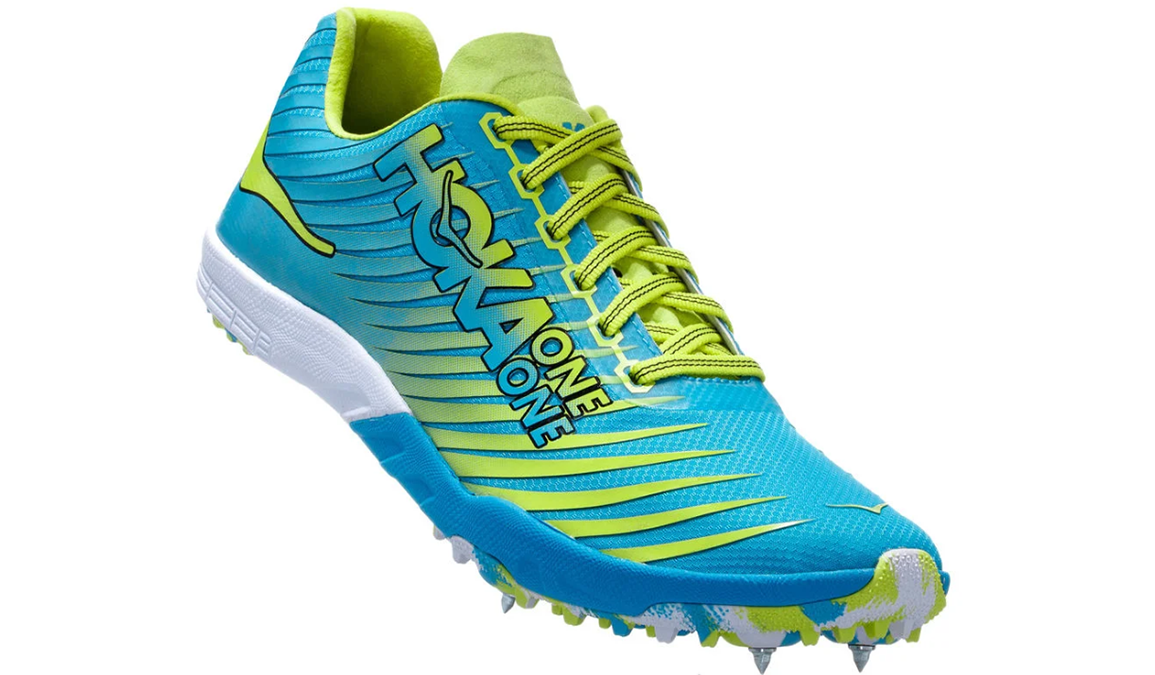 Men's Hoka One One Evo Xc Spike  - Color: Cyan/Citrus (Regular Width) - Size: 10, Cyan/Citrus, large, image 2