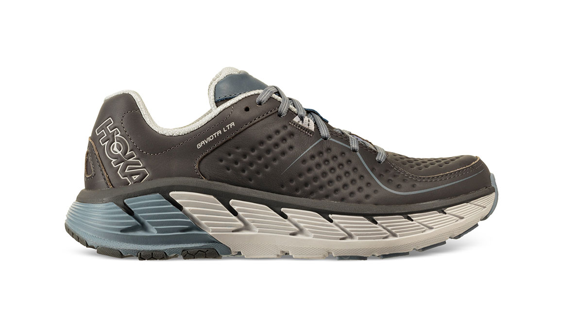 Men's Hoka One One Gaviota Leather Running Shoe - Color: Charcoal/Tradewinds (Regular Width) - Size: 8.5, Charcoal/Tradewinds, large, image 1