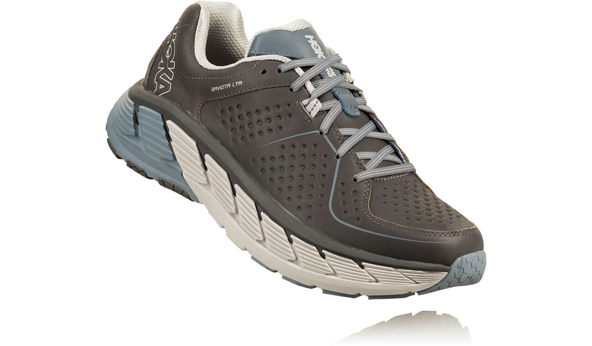 Men's Hoka One One Gaviota Leather Running Shoe - Color: Charcoal/Tradewinds (Regular Width) - Size: 8.5, Charcoal/Tradewinds, large, image 2