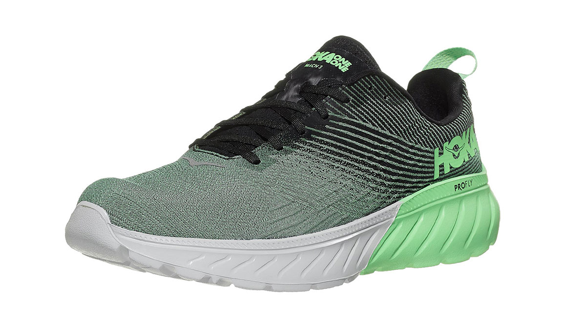 Men's Hoka One One Mach 3 Running Shoe - Color: Green Ash/Black (Regular Width) - Size: 7, Green Ash/Black, large, image 4