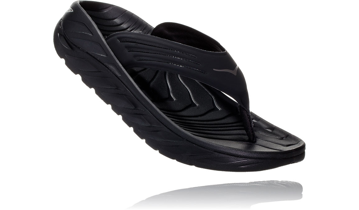 Men's Hoka One One Ora Recovery Flip 2 - Color: Black/Dark Gull Grey (Regular Width) - Size: 7, Black/Dark Gull Grey, large, image 2