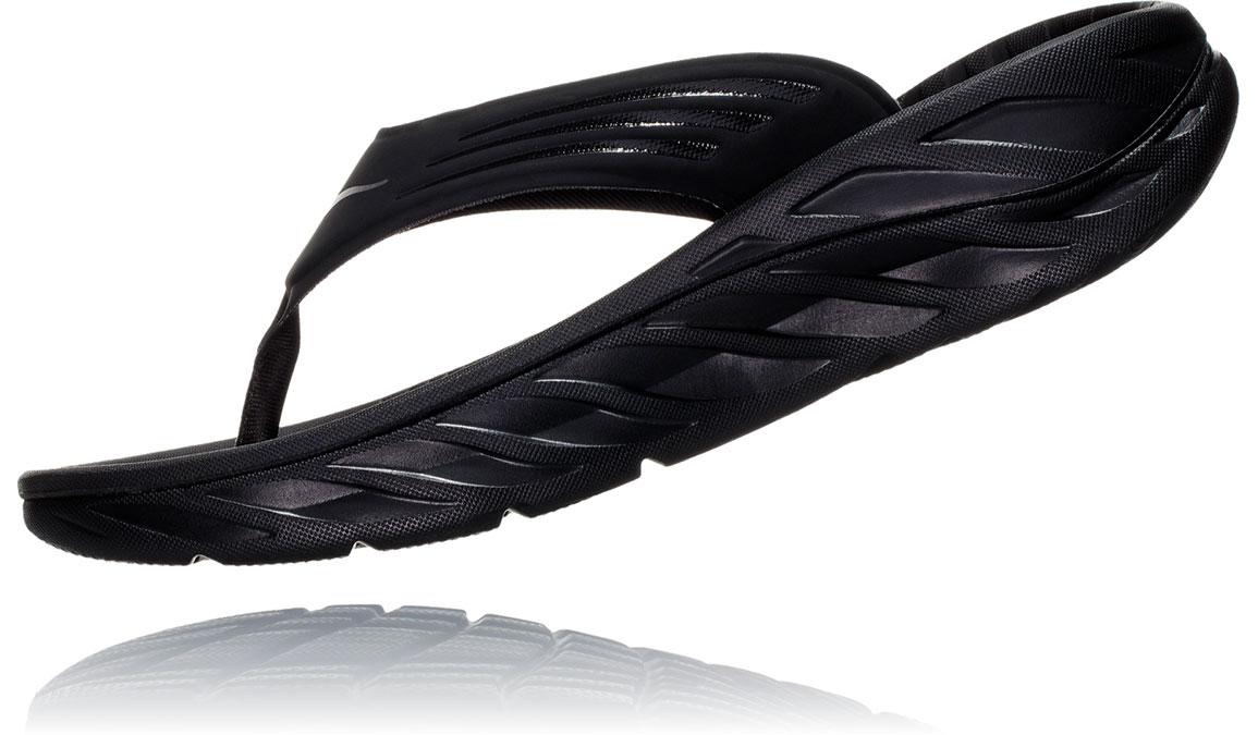 Men's Hoka One One Ora Recovery Flip 2 - Color: Black/Dark Gull Grey (Regular Width) - Size: 7, Black/Dark Gull Grey, large, image 4