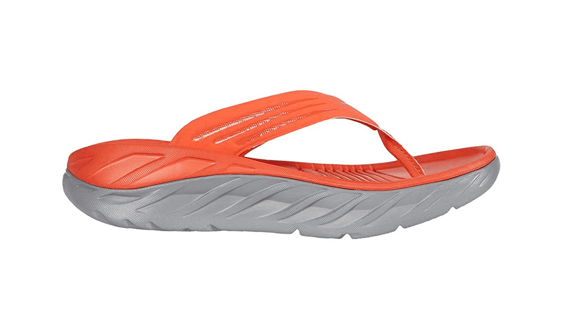 Men's Hoka One One Ora Recovery Flip  - Color: Mandarin Red/Wild Dove (Regular Width) - Size: 7, Mandarin Red/Wild Dove, large, image 1