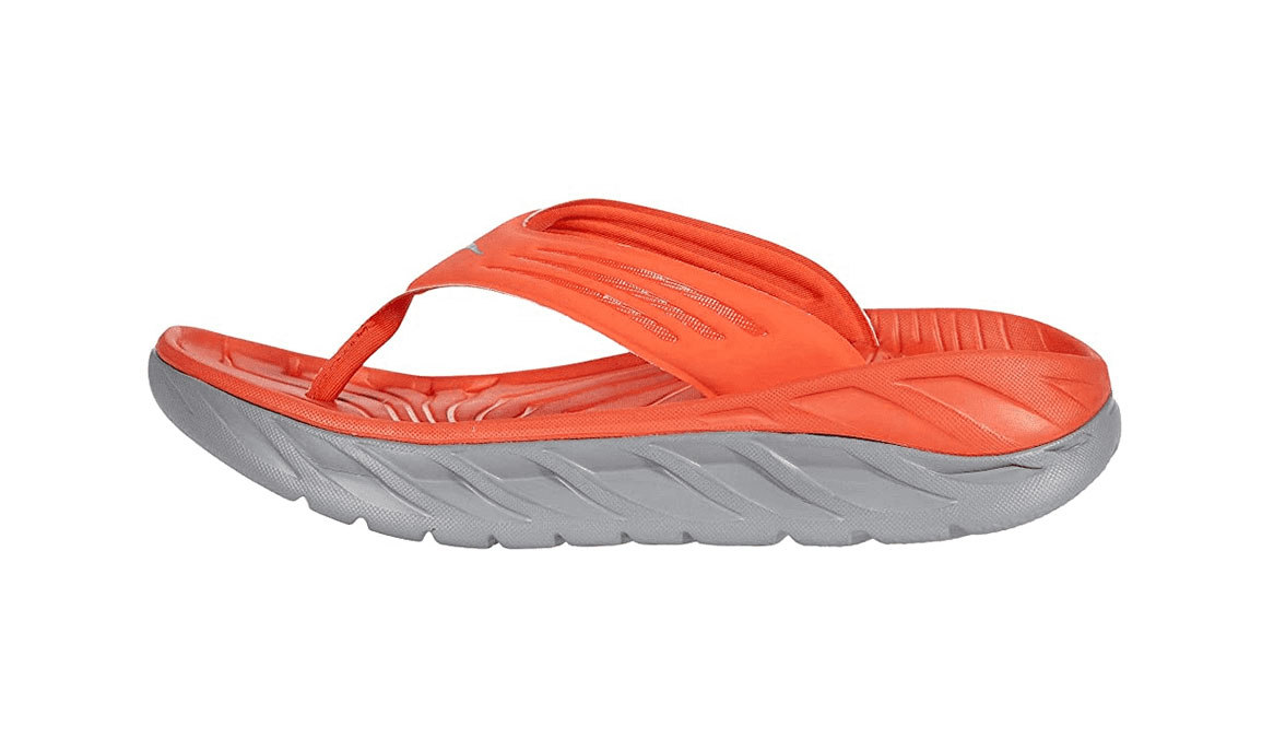 Men's Hoka One One Ora Recovery Flip  - Color: Mandarin Red/Wild Dove (Regular Width) - Size: 7, Mandarin Red/Wild Dove, large, image 2