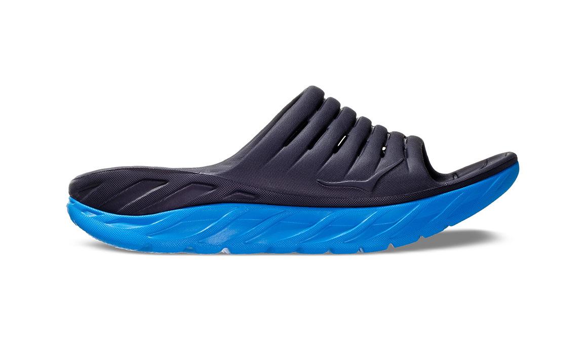 Men's Hoka One One Ora Recovery Slide 2 - Color: Ebony/Dresden Blue (Regular Width) - Size: 7, Ebony/Dresden Blue, large, image 1