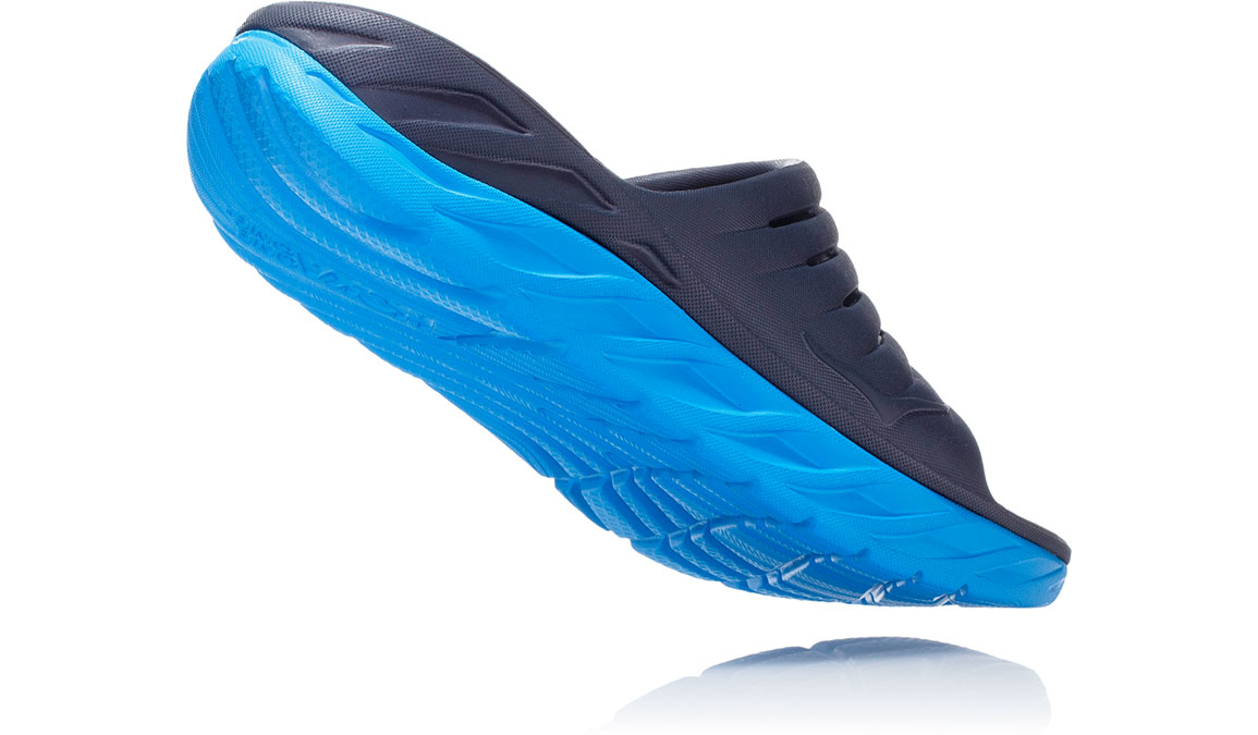 Men's Hoka One One Ora Recovery Slide 2 - Color: Ebony/Dresden Blue (Regular Width) - Size: 7, Ebony/Dresden Blue, large, image 3