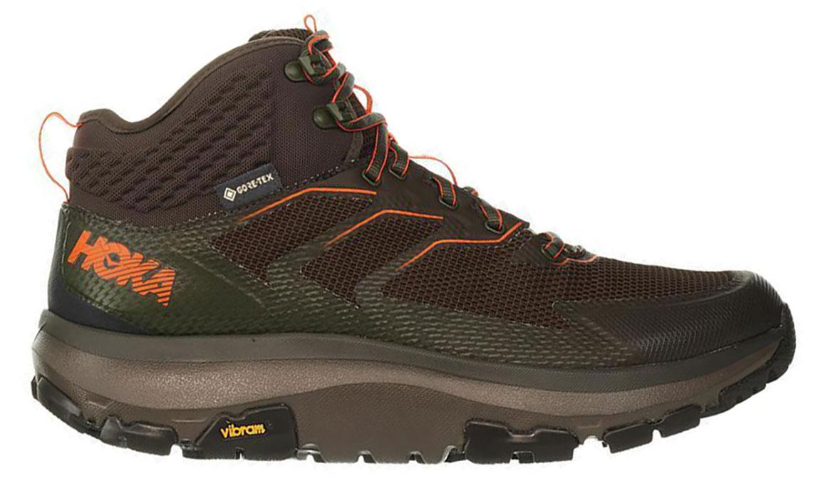 Men's Hoka One One Sky Toa Gore-Tex Trail Running Shoe - Color: Black Olive/ Orange (Regular Width) - Size: 9.5, Black Olive/Orange, large, image 1