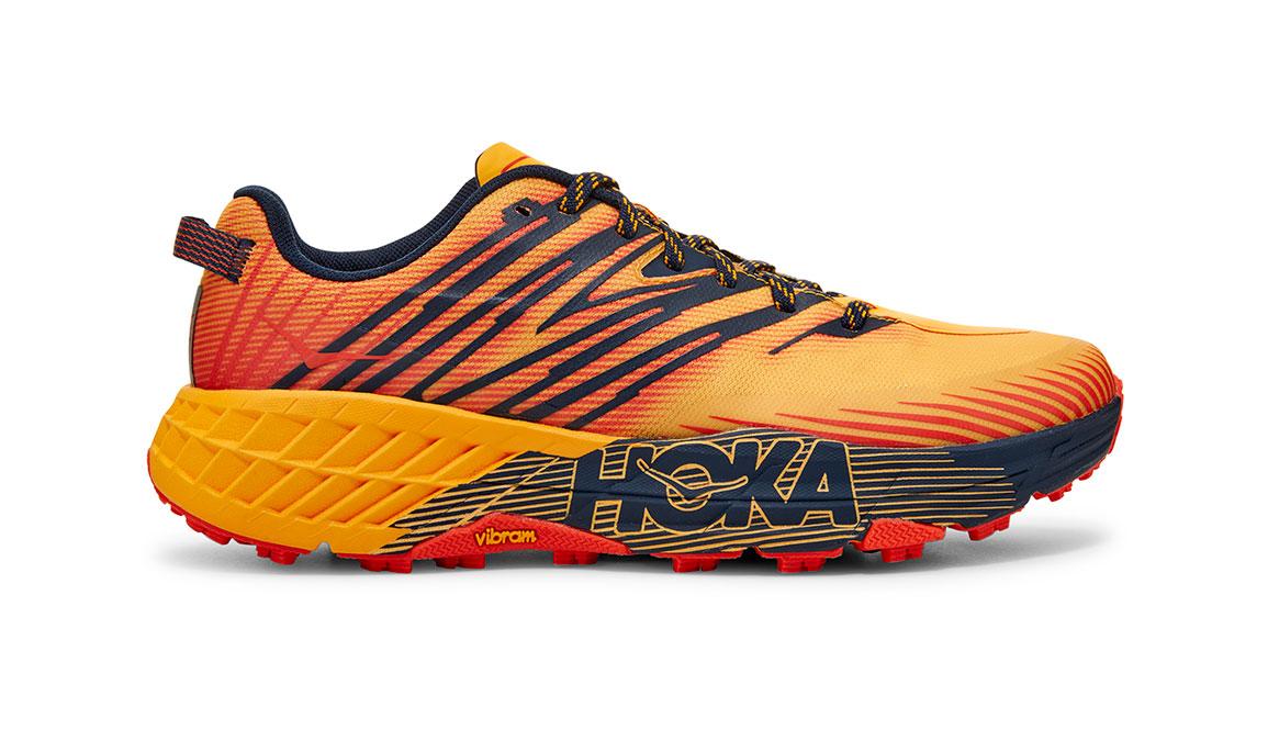 Men's Hoka One One Speedgoat 4 Trail Running Shoe - Color: Gold Fusion/Black Iris (Regular Width) - Size: 7, Gold Fusion/Black Iris, large, image 1
