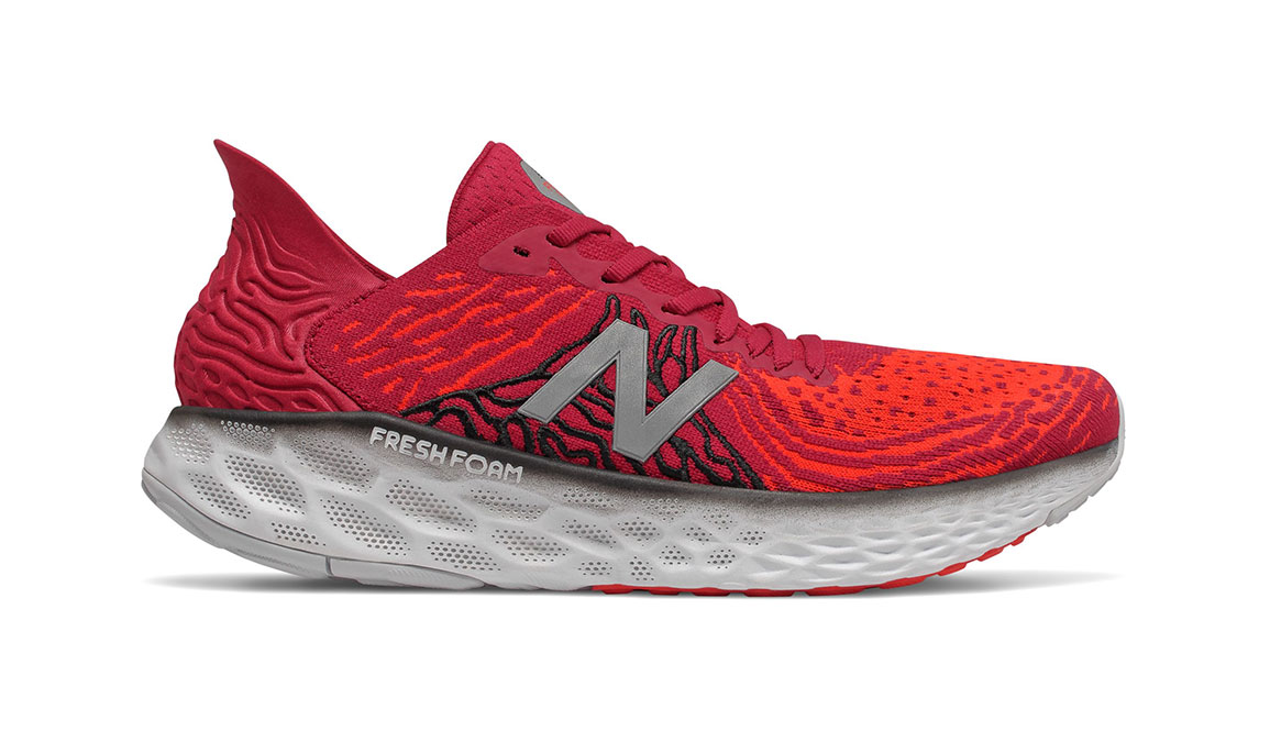 Men's New Balance Fresh Foam 1080v10 Running Shoe - Color: Neo Crimson/Neo Flam (Extra Wide Width) - Size: 7, Crimson, large, image 1