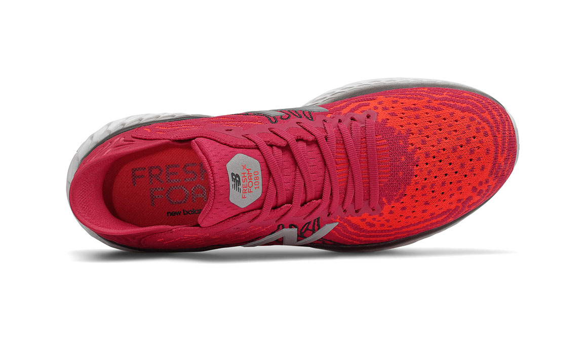 Men's New Balance Fresh Foam 1080v10 Running Shoe - Color: Neo Crimson/Neo Flam (Extra Wide Width) - Size: 7, Crimson, large, image 3
