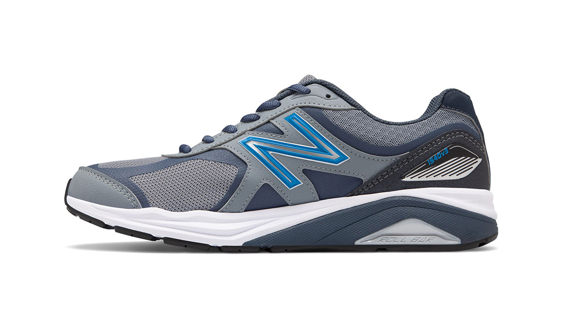 Men's New Balance 1540v3 Walking Shoe - Color: Marblehead/Black (Wide Width) - Size: 8.5, Blue/Black, large, image 2